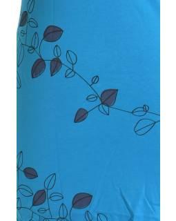 """Krátké tyrkysové šaty s krátkým rukávem a potiskem """"Leaves design"""", V výstřih"""