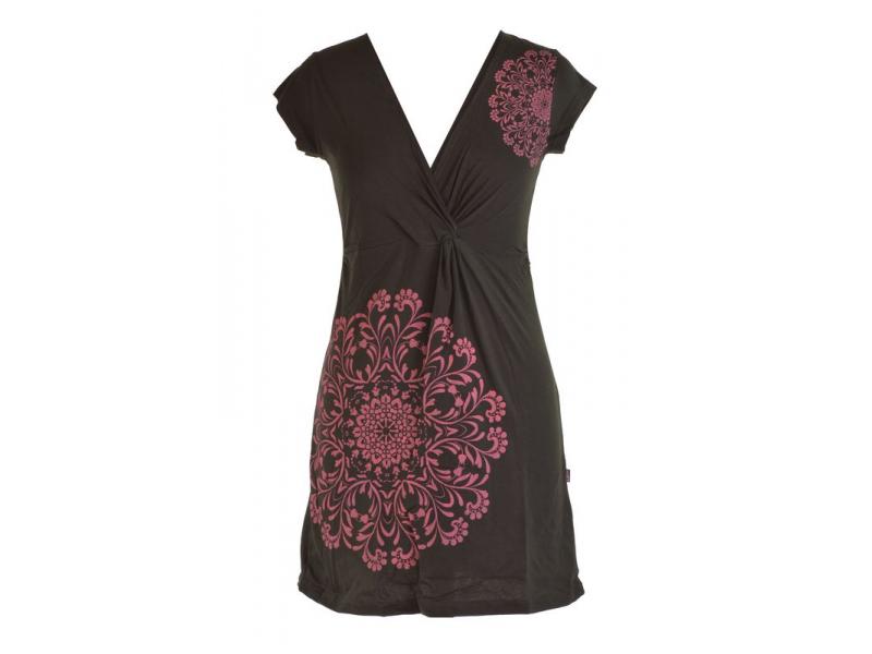 Krátké černo-růžové šaty s potiskem mandaly, krátký rukáv, V výstřih