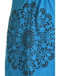 Krátké tyrkysové šaty s potiskem mandaly, krátký rukáv, V výstřih