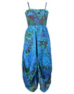 Dlouhé tyrkysové šaty na ramínka s květinovým potiskem