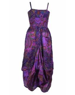 Dlouhé fialové šaty na ramínka s květinovým potiskem