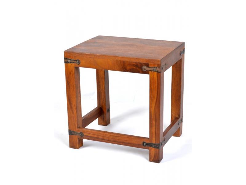 Stolička, kování v rozích, indický palisandr, 35x28x37cm
