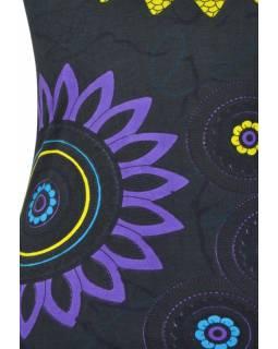 """Černé šaty bez rukávu """"Flower Mandala"""", tyrkysové lemy a kapsy"""