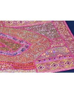 Patchworková tapiserie z Rajastanu, ruční práce, 46x87cm