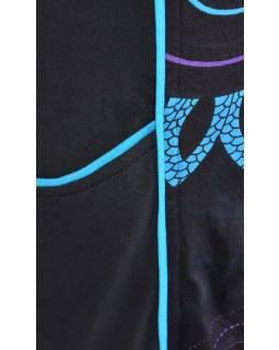 Černo-tyrkysové šaty s dlouhým rukávem, Flower Mandala potisk, kapsy