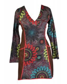 Šedo-hnědé šaty s dlouhým rukávem, Flower Mandala potisk, kapsy