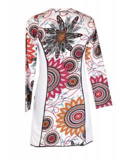 Bílé šaty s dlouhým rukávem, Flower Mandala potisk, kapsy