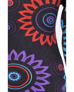 Černo-tyrkysové šaty s dlouhým rukávem, Flower Mandala potisk, kulatý výstřih