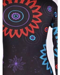 Černo-tyrkysové šaty s dlouhým rukávem, Flower Mandala potisk