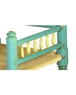 Křesílko, tyrkysové, provázkový výplet, 57x57x83cm