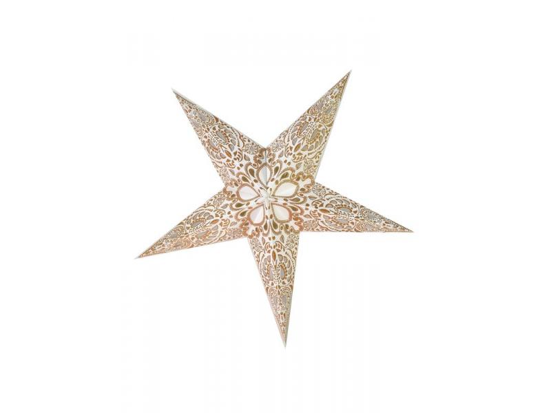 Vánoční hvězda, bílé stínidlo, zlatý dekor, 5cípů, 60cm
