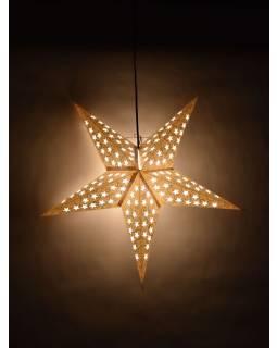 Vánoční hvězda, bílé stínidlo, stříbrný dekor, 5 cípů, 60cm