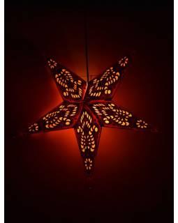Vánoční hvězda, papírový lampion, červeno-oranžový, pěticípý, 60cm