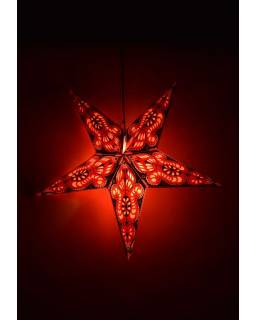 Hvězda, papírový lampion, červeno-černý, pěticípý, 60cm