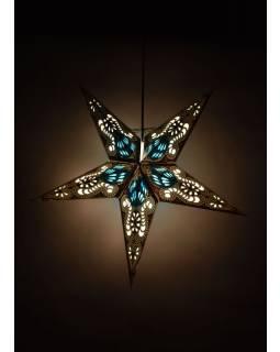 Hvězda, papírový lampion, modro-černý, pěticípý, 60cm