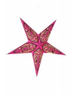 Hvězda, papírový lampion, růžovo-žlutý, pěticípý, 60cm