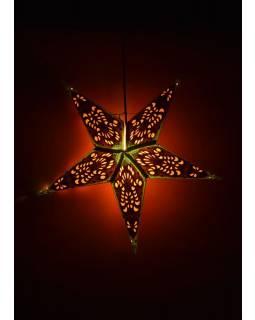 Hvězda, papírový lampion, zeleno-oranžový, pěticípý, 60cm