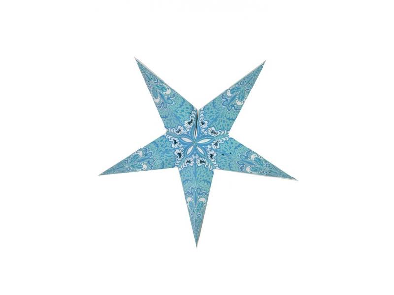 Hvězda - papírový lampion, světle modrý, pěticípý, 60cm