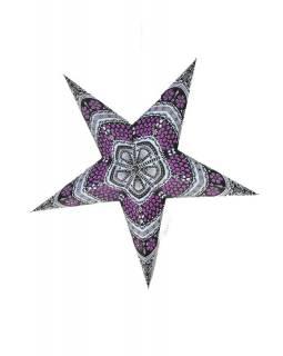 Hvězda - papírový lampion, šedo-fialový, pěticípý, 60cm