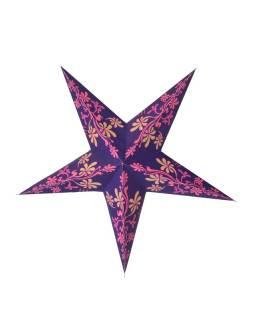 """Fialovo-růžovo-žlutý papírový lampion hvězda """"Flower"""", 5 cípů, 60cm"""