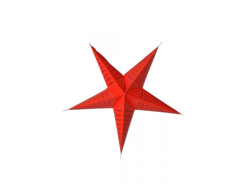 """Červený papírový lampion hvězda """"Stripes"""", prostřihy, 5 cípů, 60cm"""