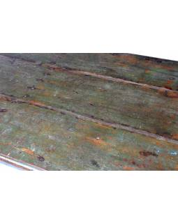 Stůl z antik teakového dřeva, zelená patina, 153x86x33cm