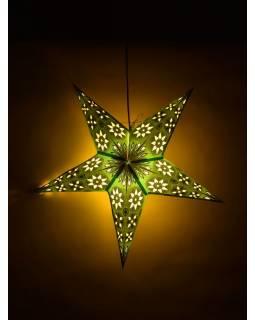 Vánoční hvězda, papírový lampion, zeleno-žlutý, pět cípů, 60cm