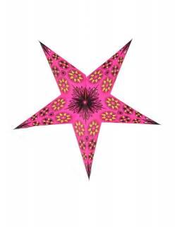 Vánoční hvězda, papírový lampion, růžovo-žlutý, pět cípů, 60cm