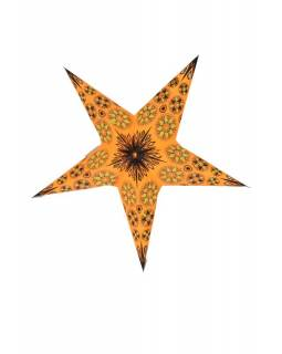 Vánoční hvězda, papírový lampion, oranžovo-žlutý, pět cípů, 60cm