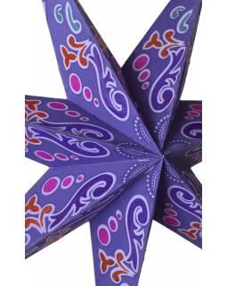 """Fialový papírový lampion hvězda """"Ornamental"""", 7 cípů, 60cm"""