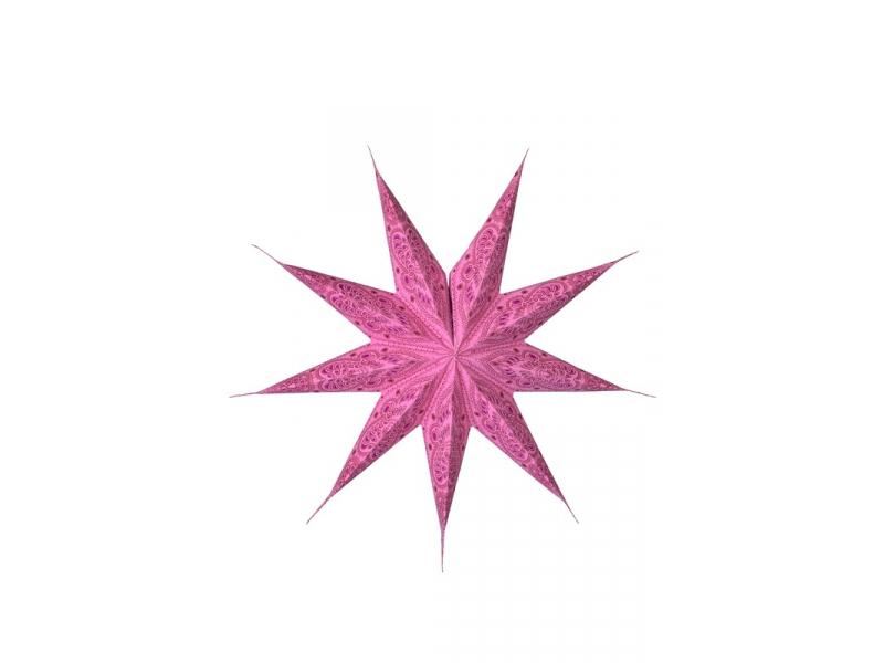 """Růžový papírový lampion hvězda """"Psychedelic"""", 9 cípů, 60cm"""