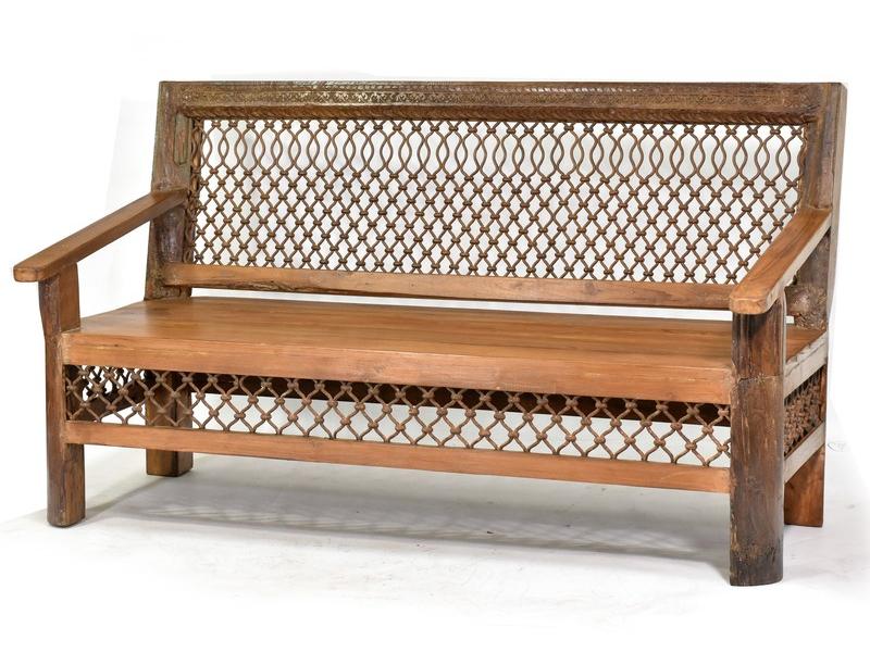 Lavice z antik teakového dřeva a kovanou mříží, 152x75x88cm
