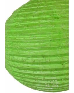 Zelený papírový lampion vosí hnízdo, ruční papír, 33x30cm