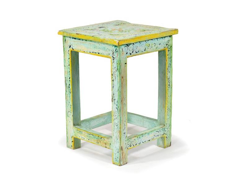 Tyrkysová, ručně malovaná stolička z antik teakového dřeva, 30x30x45cm