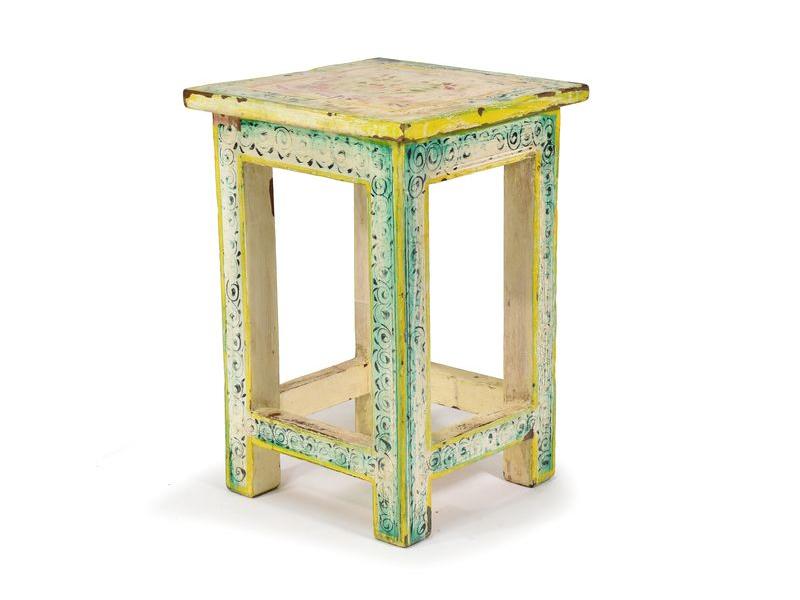 Bílá, ručně malovaná stolička z antik teakového dřeva, 30x30x45cm