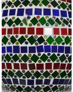 Skleněná oválná mozaiková lampa, červeno-zeleno-modrá, ruční práce, 25x40cm