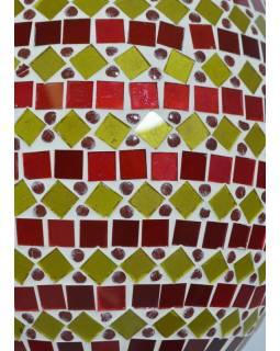 Skleněná oválná mozaiková lampa, červeno-žlutá, ruční práce, 25x40cm