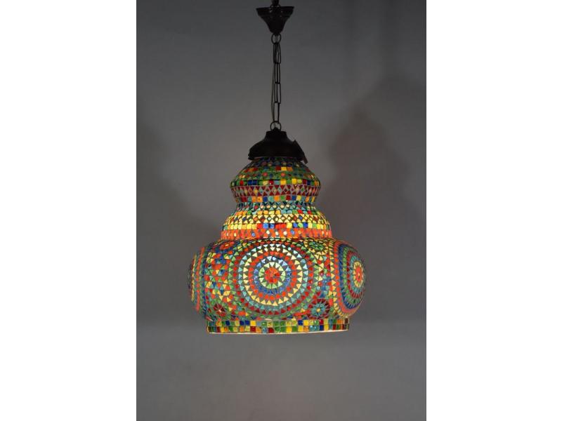 Skleněná mozaiková lampa, multibarevná, ruční práce, 40x50cm