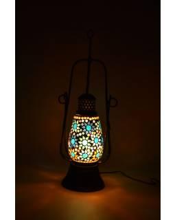 Mozaiková petrolejová lampa, multibarevná, sklo, ruční práce, 15x40cm