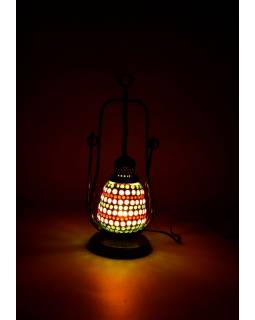 Mozaiková petrolejová lampa, multibarevná, sklo, ruční práce, 12x32cm