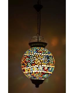 Kulatá skleněná mozaiková lampa, multibarevná, ruční práce, 25x33cm