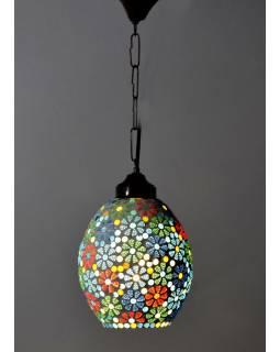 Kulatá skleněná mozaiková lampa, ruční práce, 16x24cm