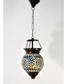 Kulatá skleněná mozaiková lampa, ruční práce, 16x22cm