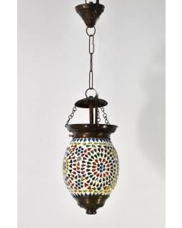 Kulatá skleněná mozaiková lampa, ruční práce, 15x20cm