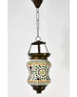 Kulatá skleněná mozaiková lampa, ruční práce, 14x20cm