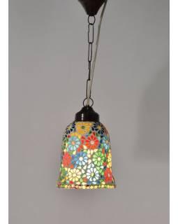 Otevřená skleněná mozaiková lampa, ruční práce, 14x22cm