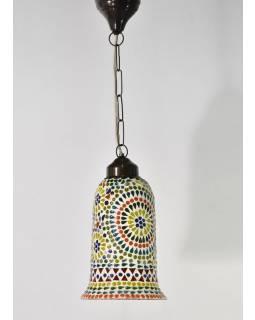 Otevřená skleněná mozaiková lampa, ruční práce, 15x30cm