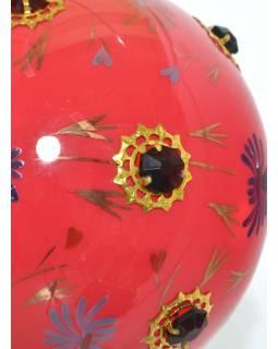 Kulatá skleněná lampa zdobená barevnými kameny, růžová, ruční práce, 25x35cm