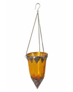 Závěsný skleněný svícen, žlutá, kovové zdobení, 8x14cm