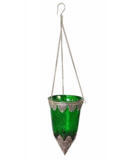 Závěsný skleněný svícen, tmavě zelená, kovové zdobení, 8x14cm